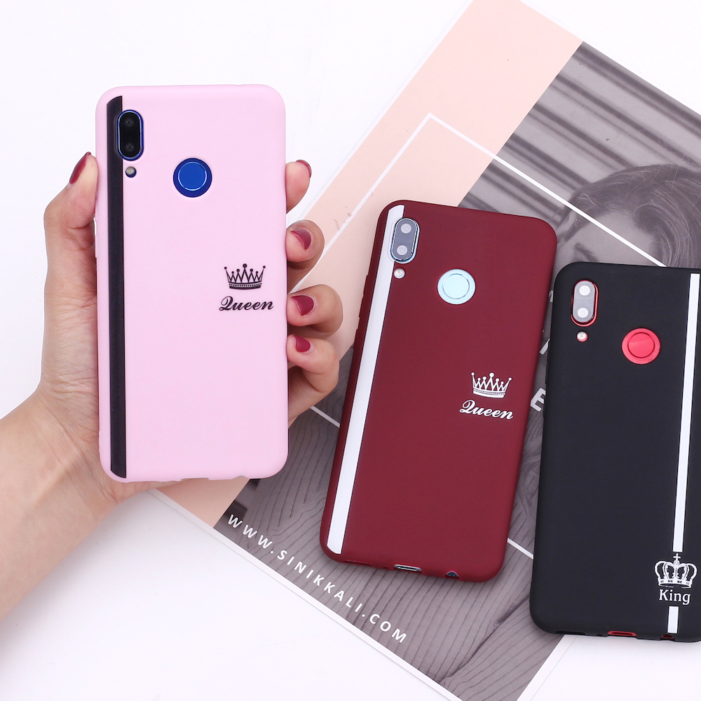 For Huawei Honor Mate 10 20 Nova P20 P30 P40 P Smart Crown Striped Queen King Lover Couple Silicone Phone Case Cover Capa Fundas(China)