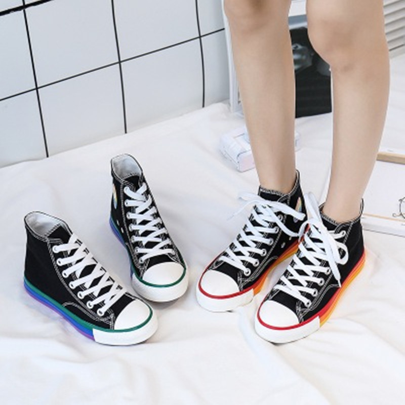 Spring Korean Version Of Canvas Children's Shoes Girls High-top Lace-up Shoes Fashion Trend Students Rainbow Soles Casual Shoes