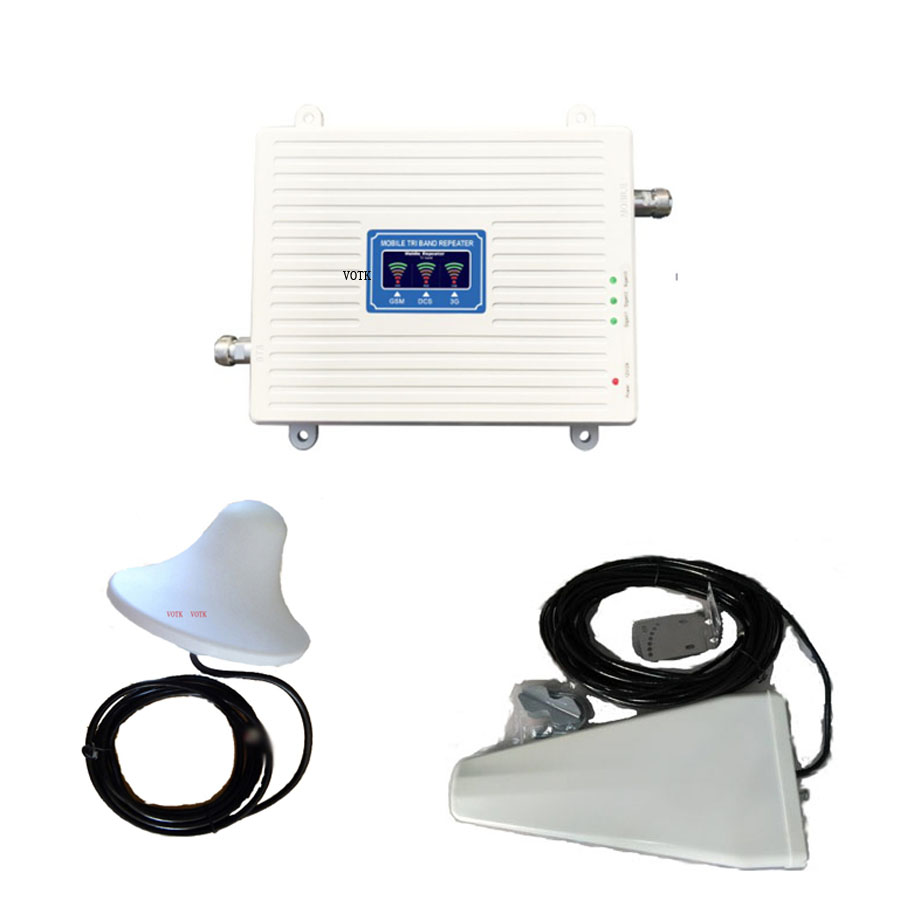 VOTK GSM DCS 3G  Tri Band Signal Booster! Mobile 2G 3G 4G Signal Repeater 900 1800 2100 MHZ Signal Amplifier