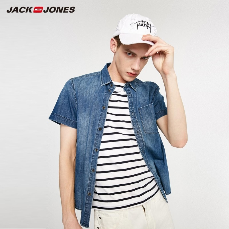 JackJones Men's Spring Korean Slim Fit Comfortable Short-sleeved Denim Shirt Menswear|Streetwear 219204517
