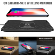 dropshipping Car Wireless Charger Skid-proof Silicone Mat Phone Charging Pad Fast Charge OE88