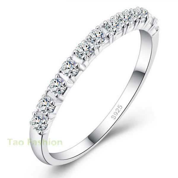 חדש עיצוב חתונה טבעות נשים 925 סטרלינג כסף מדומה יהלומי טבעת תכשיטים