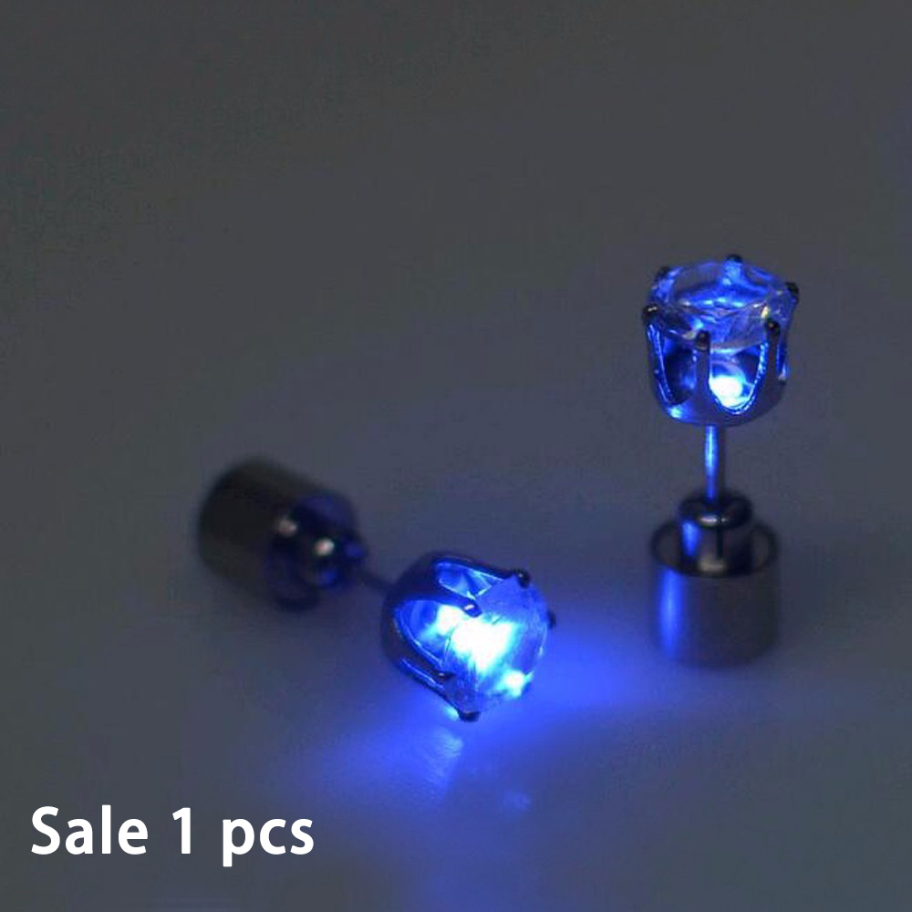 FAMSHIN Hot Sale 1 PCS The Charm Of The LEDs Light Up To Crown A Glowing Crystal Stainless Ear Drops Ear Earring Jewelry 2018