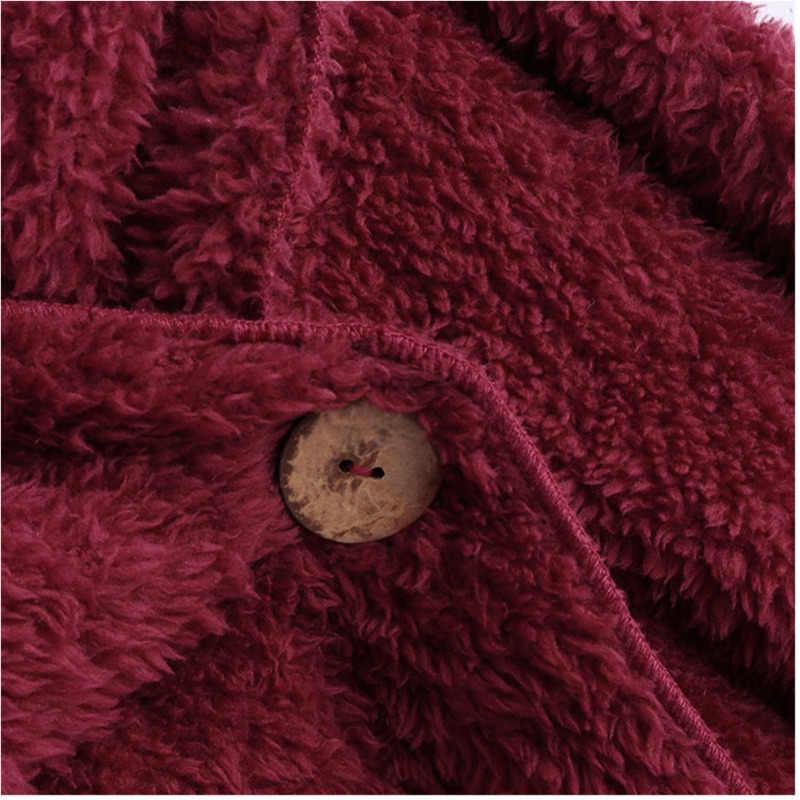 Suéteres de Cachemira tejidos mujeres Invierno 2019 Casual bufanda cuello abierto puntada manga larga sólido Cardigan mujer otoño mujer suéteres