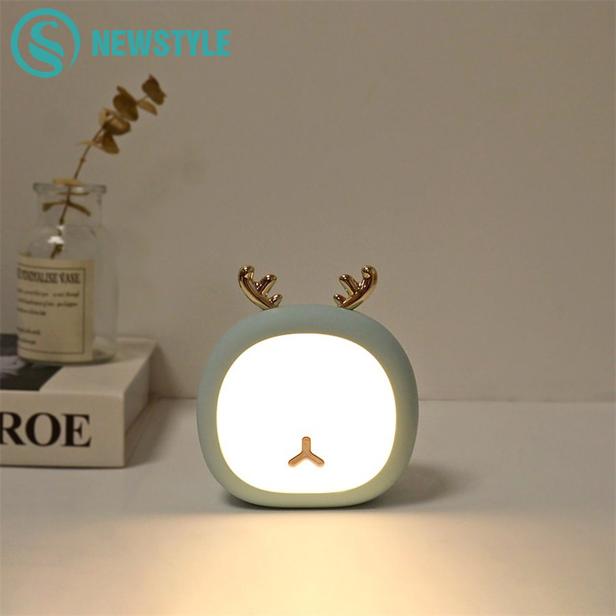 Cute Pet Deer Rabbit LED Night Light Stepless Touch USB Rechargeable Lamp For Home Decoration Christmas Gift