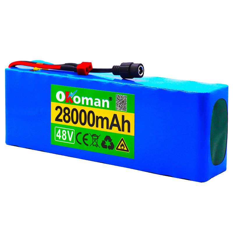 48v 28Ah 1000watt 13S3P 18650 Battery Pack MH1 54.6v E-bike Electric bicycle battery Scooter with 25A discharge BMS