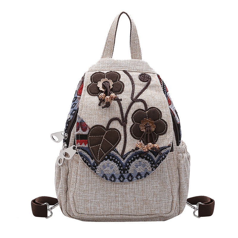 Chinese Style Linen Women Backpack Casual  Floral Printing Vintage Art Shoulders Bag Retro Female Canvas Backpack