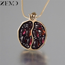 ZEMO Womens Gold Pomegranate Pendent Necklaces Plant Clavicle Charm Necklace Vintage Personalized Neck Jewelry Female Accessory