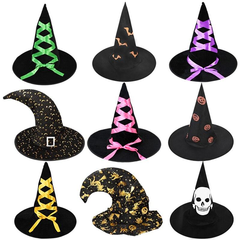 Sombrero para fiesta de Halloween negro y naranja, sombrero de bruja para niños y adultos, accesorios de disfraz de Cosplay, sombrero de mago, suministros de decoración de Halloween