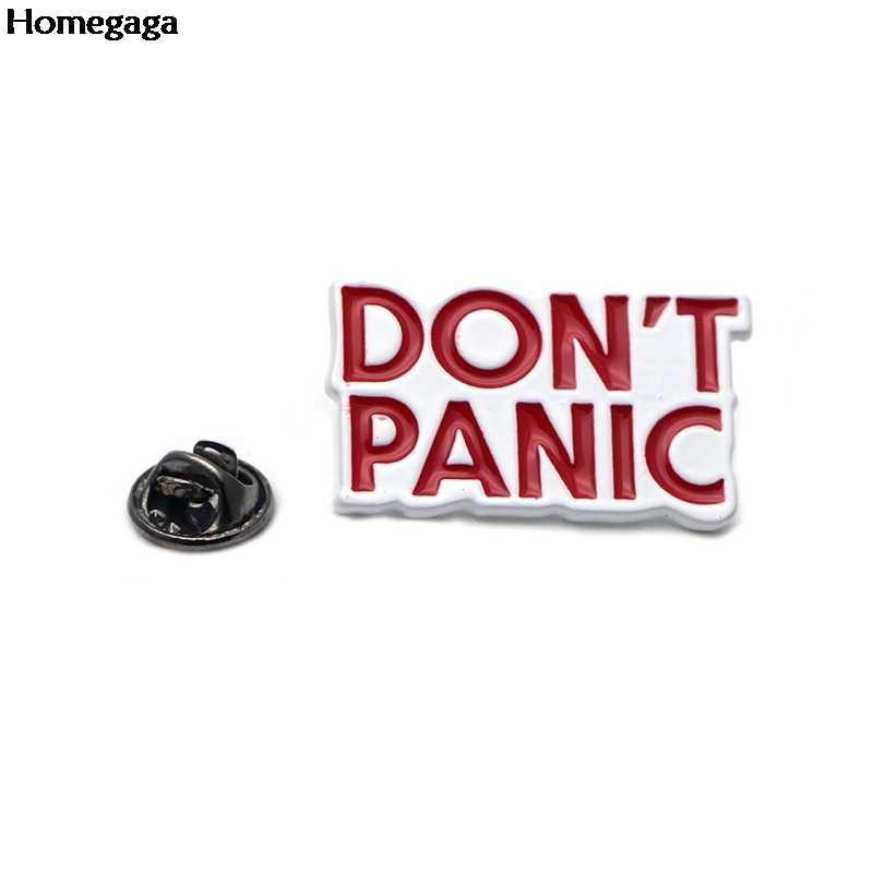 D0669 Homegaga Tidak Panik Pin untuk Ransel Pakaian Logam Lencana Bros untuk Tas Kemeja