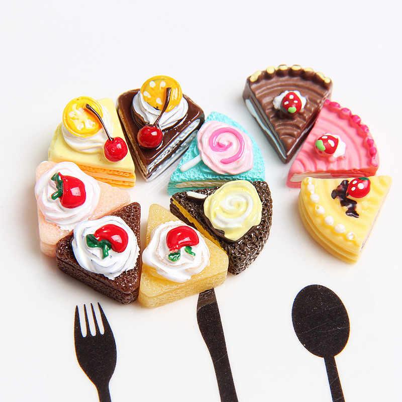 10/5 個かわいいかわいいフラットピンク diy ミニチュア人工偽食品ケーキ型樹脂カボション装飾クラフト再生ドールハウスのおもちゃ