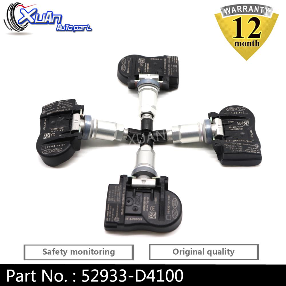 XUAN 4PCS Tire Pressure Monitor Sensor TPMS Sensor 52933-D4100 For Hyundai ELANTRA I30 FASTBACK GRANDEUR KIA OPTIMA NIRO Sorento