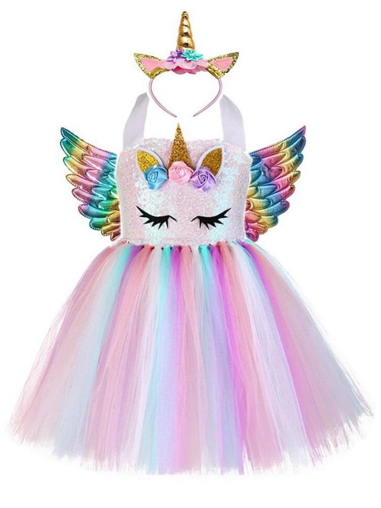 Unicorn Costume Dress Tutu Birthday-Party-Dresses Sequin-Pastel Rainbow Pony Princess Cosplay