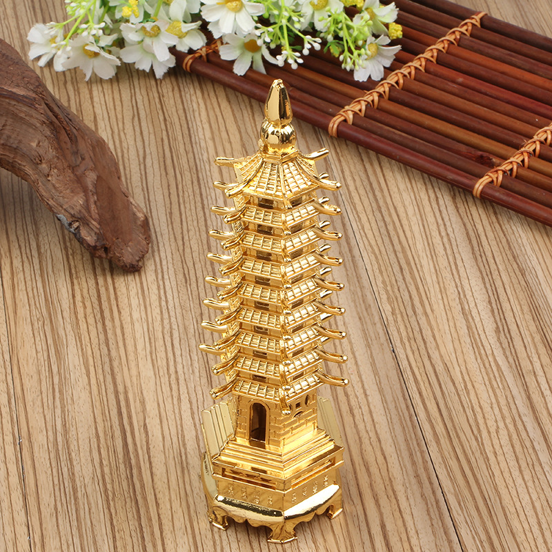Feng Shui 3D Model China Wenchang Pagoda Tower Metal Crafts Statue Handmade 18cm