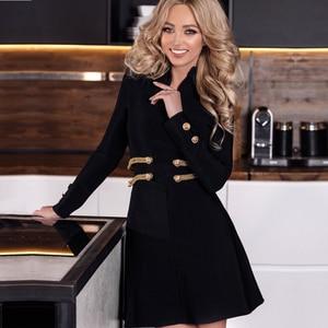 Image 1 - Adyce 2020 New Autumn Black Bandage Dress Women Sexy Long Sleeve O Neck Mini Club Dress Vestidos Elegant Celebrity Party Dress
