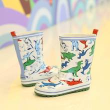 New Children Rain Boots Boys Baby Dinosaur Water Shoes School Boy Waterproof Kids Loafers Student Non-slip Rubber Shoes D04054(China)