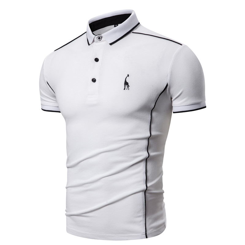 2020 New Summer Cotton POLO Shirt Men Turn Down Collar Casual Social Style Giraffe Brand Embroidery Mens Polos Male Tops Tees