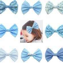 14pc/lot Dot Floral Print Bows Baby Hair Clips,Newborn 4.2