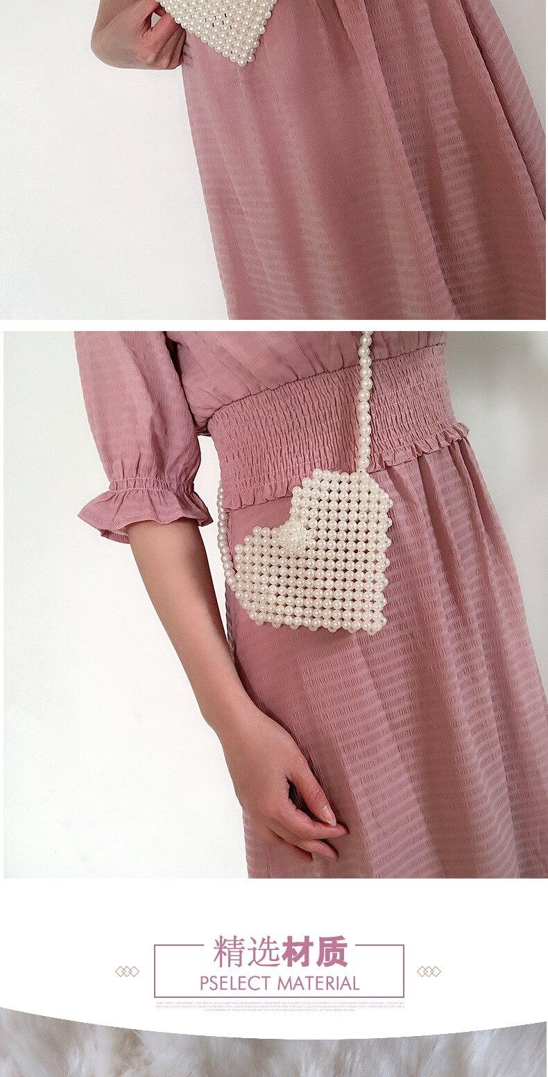 Coração-em forma de pérola artesanal bolsa de
