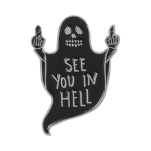 Black Ghost Middle Finger Enamel Pin See you in hell Badge Brooches Bag Clothes Lapel pin Funny Punk Gothic Jewelry Gift