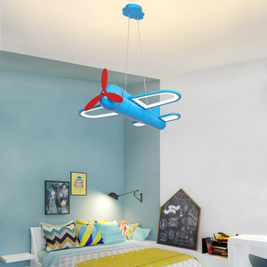Image 4 - الحديثة led الثريات ضوء طائرة الأزرق الأصفر أضواء للأطفال غرفة الاطفال طفل الفتيان الإضاءة مصباح نجف المنزل