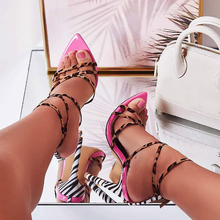 Strappy Single Sole Heels Sandals Pointed Toe Cut Out Rosy Red Sexy Women Shoes High Heel Stiletto Lace Up Fashion Shoes stylish rope style lace up keen high sandal booties sexy strappy open toe stiletto heel gladiator sandals fashion dress shoes