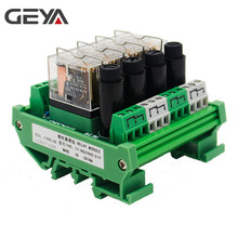 лучшая цена GEYA NGG2R 4Channel Relay Module Omron Relay Board with Fuse Protection 1NO1NC 12V 24V AC/DC