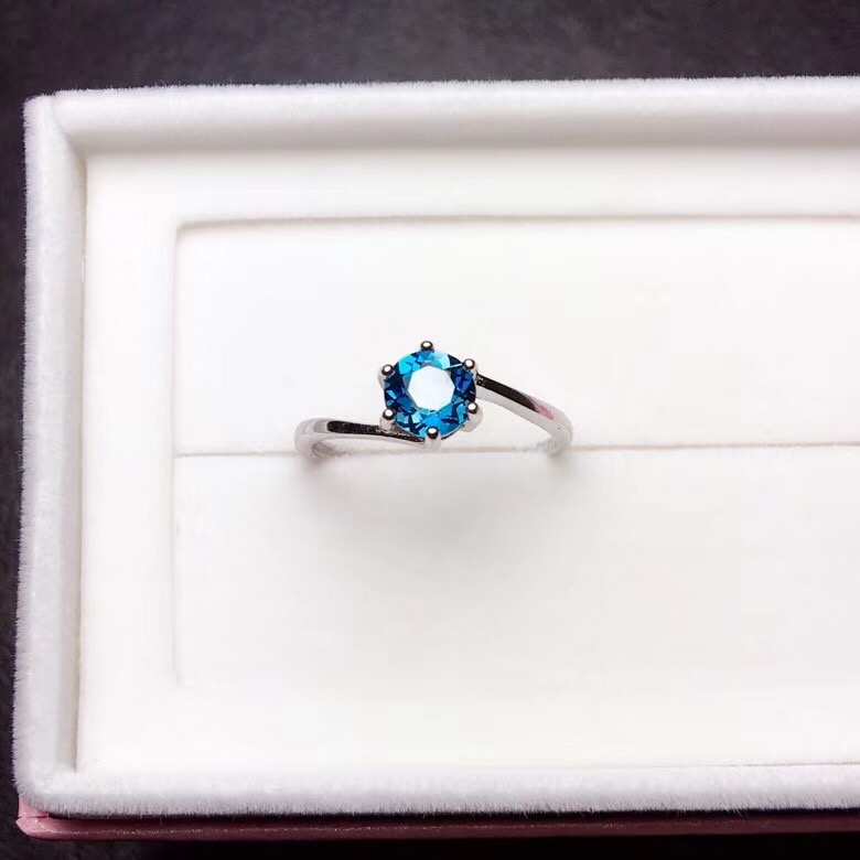 Natural Blue Topaz Rings For Women, 925 Sterling Silver, 6*6mm Gemstone Birthstone Jewelry With Velvet Box FJ299