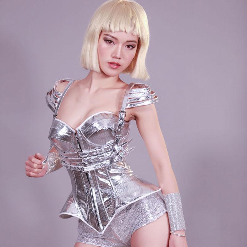 Argent futuriste peau de serpent modèle scène costume discothèque bar fête rave tenues ds chanteur Performance justaucorps ensemble 3 pièces