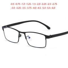 Herren Business 1,56 Asphärische Rezept Brillen Frauen Retro Metall Platz Kurzsichtig Brille Dioptrien 0-0,5-0,75 Zu-6,0