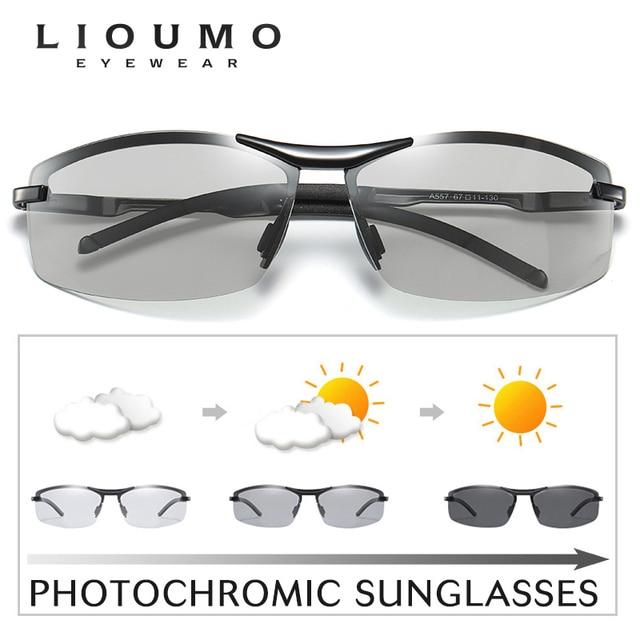 Classic Vintage Photochromic Sunglasses Men Polarized Sun Glasses Driving Eyewear Male Night Vision Change Color Lens Anti-Glare