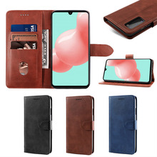 For Samsung Galaxy A41 Case Calf Grain PU Leather Flip Stand Wallet Cover with Card Slots and Magnetic Buckle For Samsung A41 for apple ipod touch 7 case vintage calf grain leather flip stand shockproof wallet cover for ipod touch 5 6 case card holder