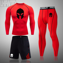 Men's Running Set Gym Legging Thermal Underwear Spartan Compression Fitness MMA Rashguard Male Quick-Drying Tights Track Suit