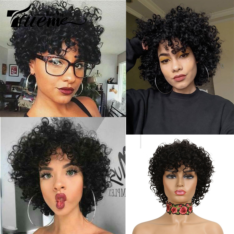 Trueme Loose Curly Human Hair Wigs For Women Brazilian Remy Curly Short Hair Wigs Pixie Cut Wave Curly Full Wigs Free Shipping