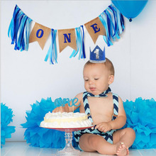 Baby First Birthday Blue Pink Banner ONE Year 1st Party Decoration Boy Girl I AM Bunting baby Decorations