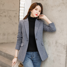 Vintage Plaid Ladies Blazer Gray Stylish Loose Casual Suit Jacket Blazers Mujer Korean Office Women Blazer Large Size MM60NXZ
