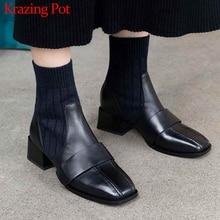 Krazing pot cuero de vaca natural costura stretch tejer botines tacones medios cuadrados streetwear cálido invierno Chelsea botas L82