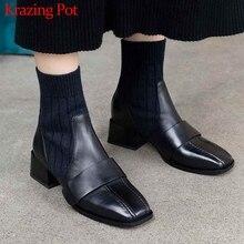 Krazing pot doğal inek deri dikiş streç örme yarım çizmeler kare med topuklu streetwear sıcak kış Chelsea çizmeler L82
