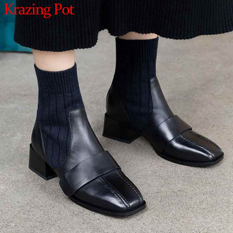 Krazing pot natural cow leather sewing stretch knitting ankle  boots square med heels streetwear warm winter Chelsea boots L82Ankle  Boots