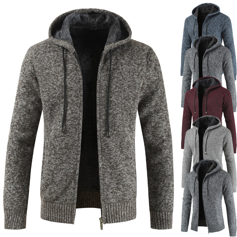 Men's Sweater 2019 New Men's Hooded Sweater With Fleece And Thickened Cardigan Long-sleeved Sweater Coat
