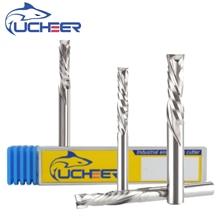 UCHEER 2 флейты 3,175/4/5/6/8 мм сжатия фреза ЧПУ Инструмент для обработки МДФ зажим доска для деревообработки