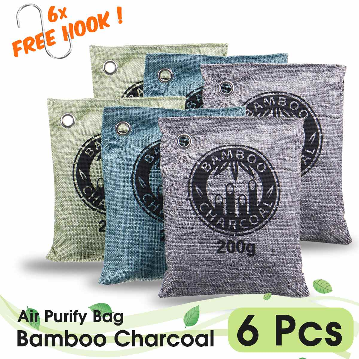 3/4/5/6/8 Bags 200G Air Purifying Bags Nature Fresh Charcoal Bamboo Air Purifying Bag Mold Odor Purifier Bamboo Charcoal