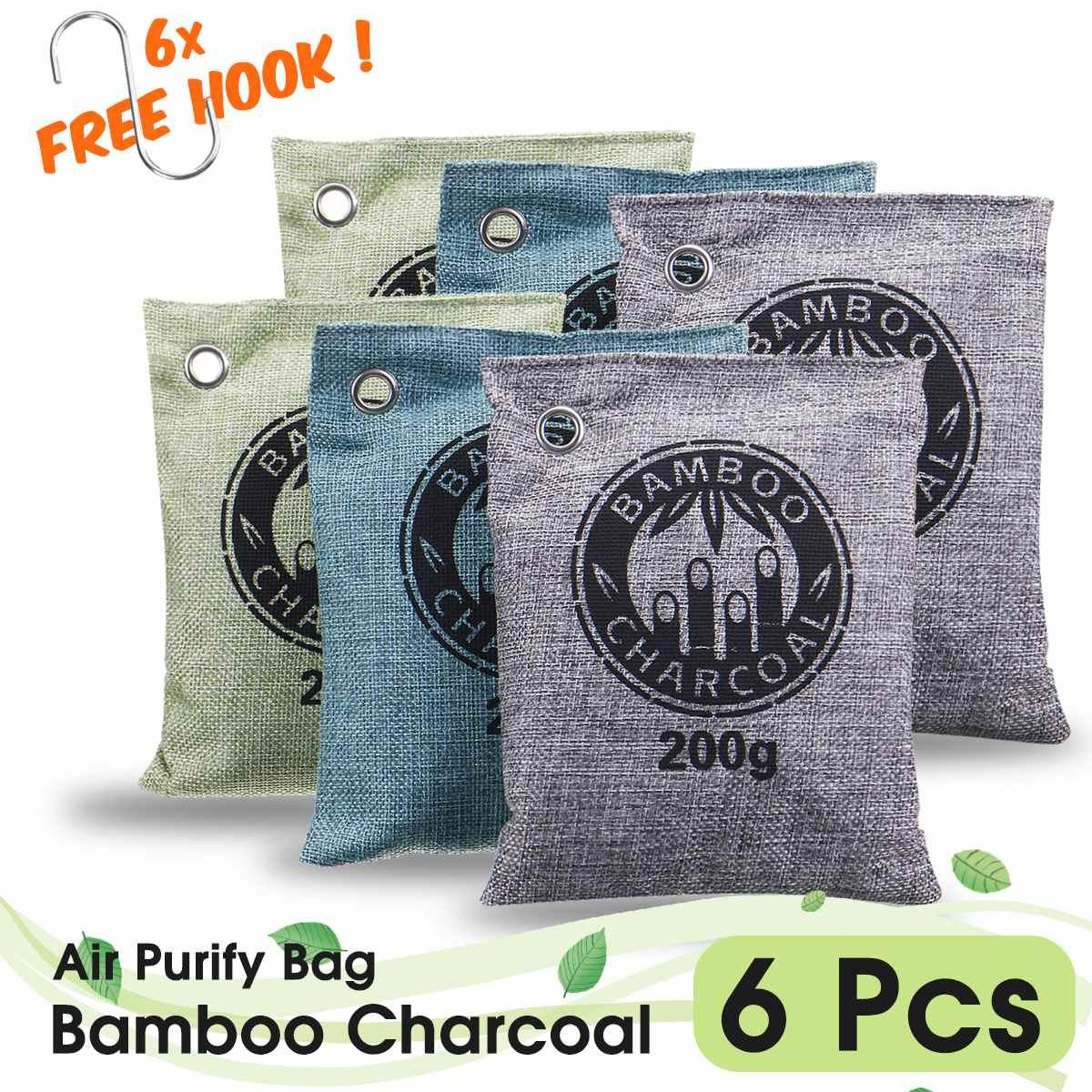 3/4/5/6/8 Bags 200G Air Purifying Bags Nature Fresh Charcoal Bamboo Air Purifying Bag Mold Odor Purifier Bamboo Charcoal