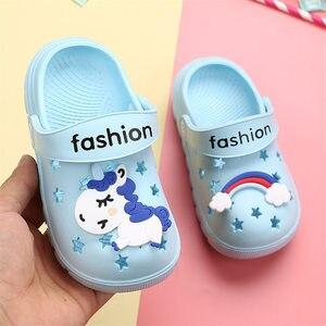 Image 5 - 유니콘 슬리퍼 소년 소녀 레인보우 신발 2019 여름 유아 동물 키즈 야외 아기 슬리퍼 PVC 만화 어린이 슬리퍼