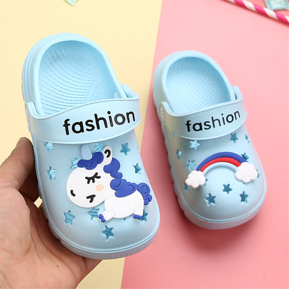 Image 5 - Unicorn Slippers for Boy Girl Rainbow Shoes 2019 Summer Toddler Animal Kids Outdoor Baby Slippers PVC Cartoon Kids SlippersSlippers   -