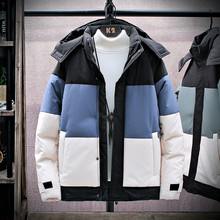 Thicken Men #8217 s Down Jacket Patchwork Hooded Warm Parka Men Casual Waterproof Windproof Winter Coat Male Windbreaker Coats 3XL 4XL cheap MANLUODANNI CN(Origin) Wide-waisted Men Overcoat zipper Full Zippers Thick (Winter) Broadcloth Polyester White duck down