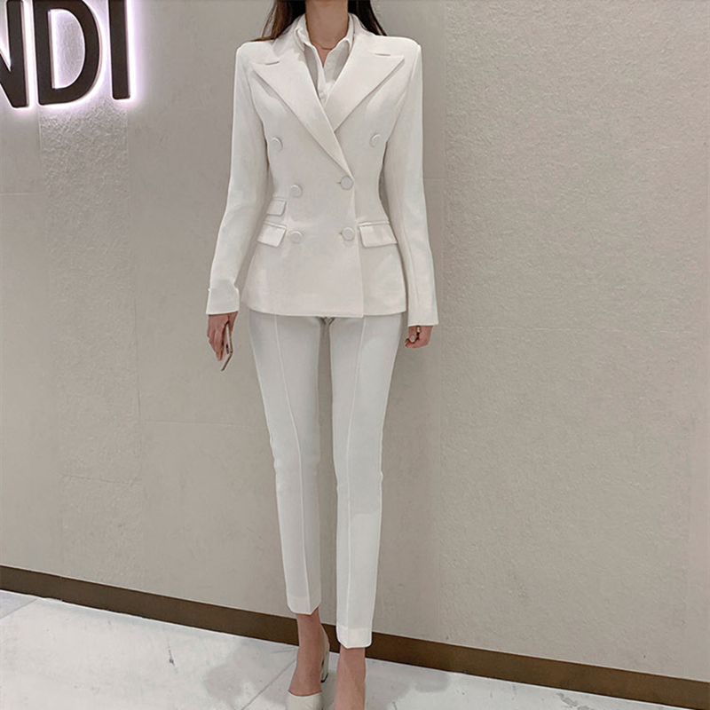 New Arrival Women High Quality Women Pant Suit Notched Blazer Jacket  Pant Office Lady White Suits
