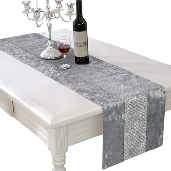 цена на Table Runner Rectangular Coffee Dining Table Cloth Runners table runner with Diamante Strip for Home Kitchen Party Wedding Deco