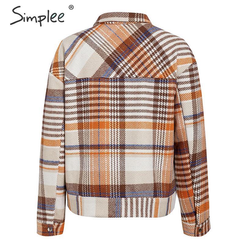Simplee Single breasted women plaid jacket coat Long sleeve casual autumn outwear female coat Streetwear oversize ladies coat 11