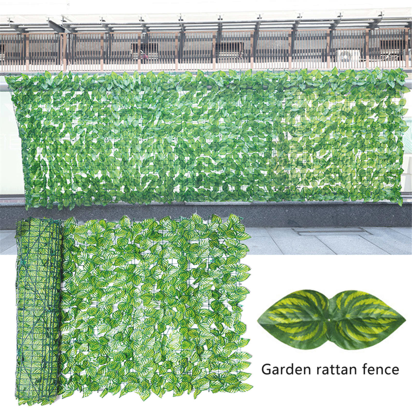 Artificial Ivy Privacy Fence Screen UV Fade Protected Privacy Hedging Wall Landscaping Garden Fence Balcony Screen 0.5x1m/0.5x3m